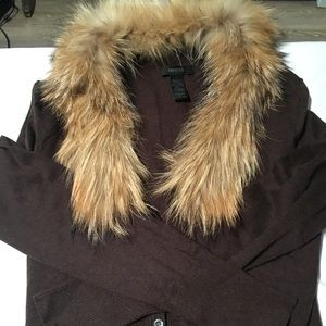 Brown fur collar trim cardigan Express